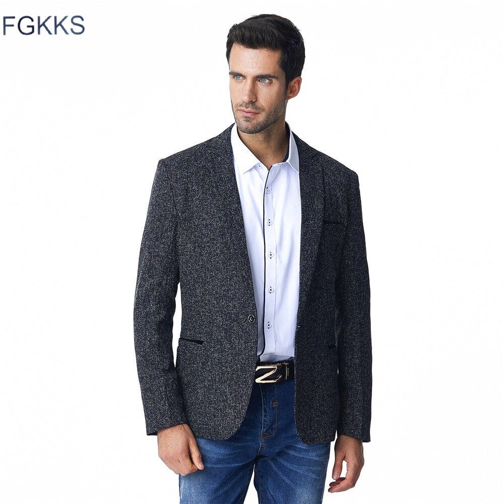 cbc90d3e88 FGKKS Terno Homens Blazer Moda Slim Fit Marca Projeto Plus Size M-5XL Terno  Blazer Masculino Terno de Negócio Ocasional Preto Jaqueta