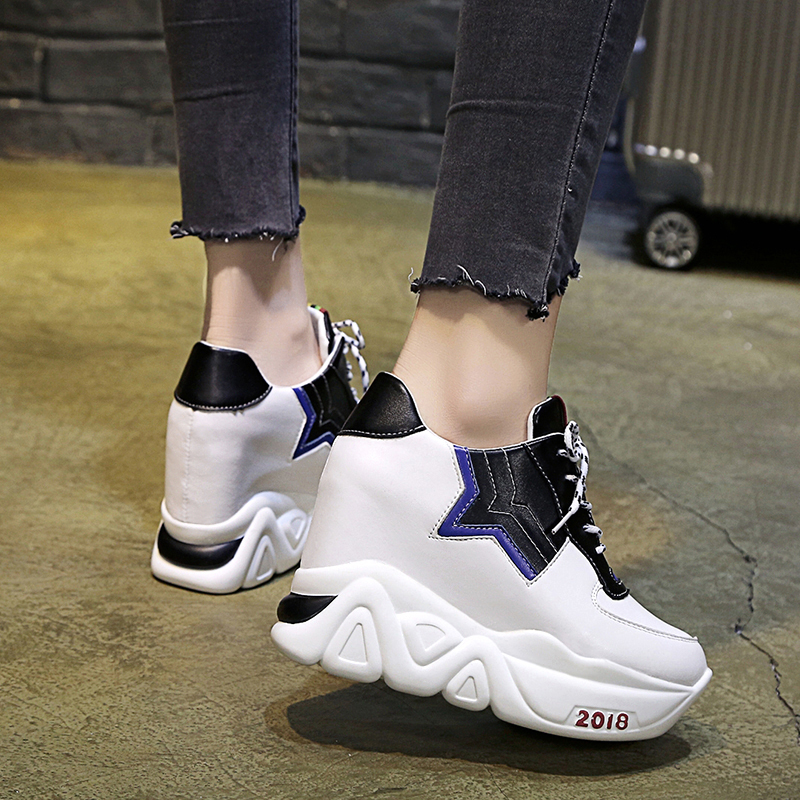 Kjstyrka 2018 Zapatillas Mujer summer autumn Casual mixed color women sneakers fashion increasing ladies wedges platform shoes 5