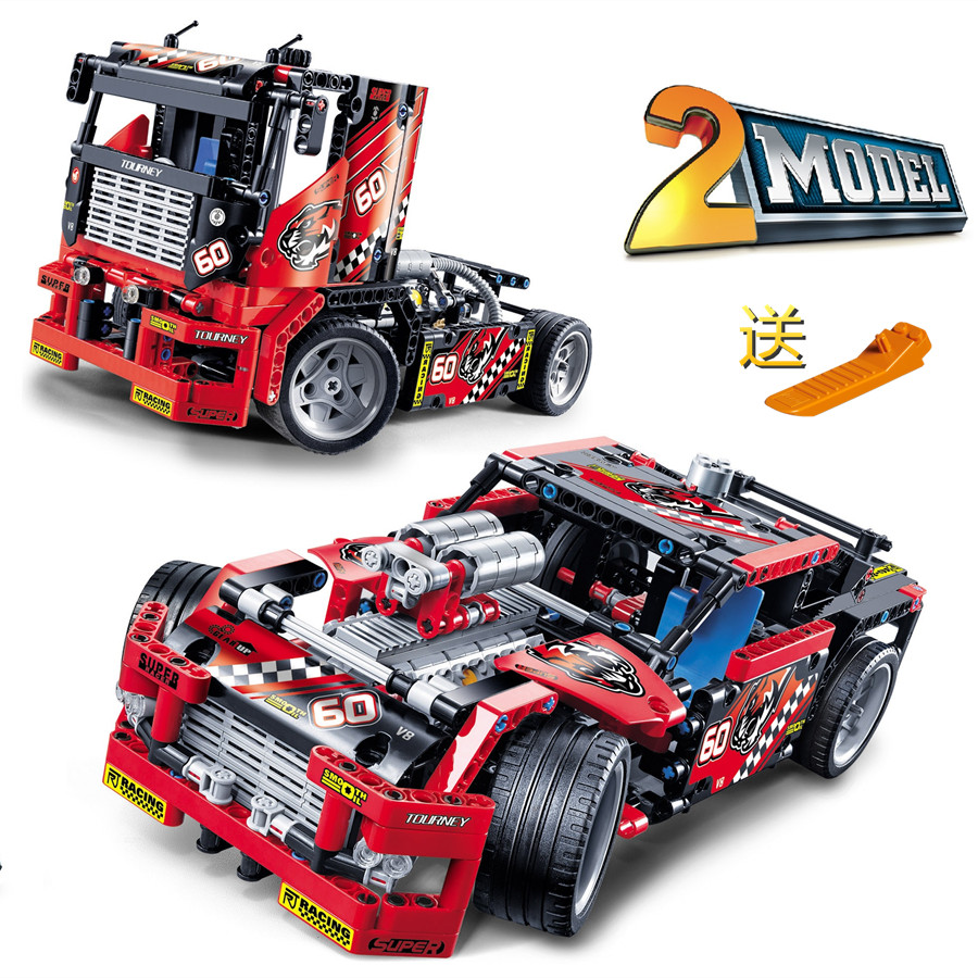 608pcs Race Truck Car 2 In 1 Transformable Model Building Block Sets Decool 3360 DIY Toys Compatible With   42041 decool 3360 race truck building toys for children toy set boy car racers car gift compatible with lepin bela 8041