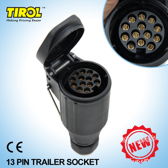 Tirol 13Pin Trailer Socket  Black frosted materials 13Pole Trailer Socket 12V Tow bar Towing Socket Vehicle T21223Free Shipping