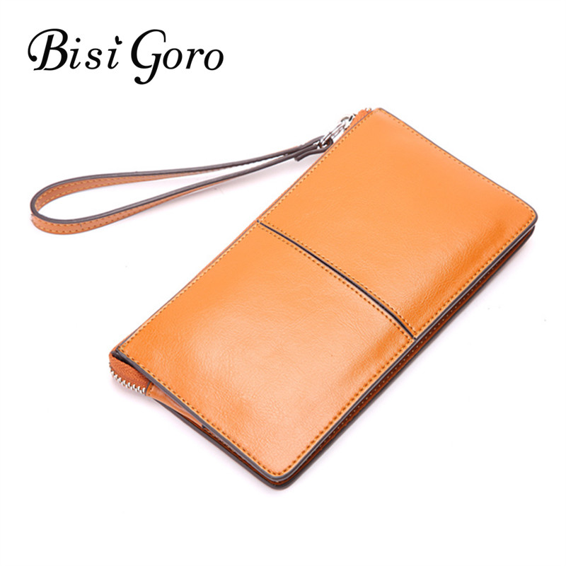 BISI GORO 2018 Cowhide Leather Women Wallets Female Fashion Long Clutches Women Purse Ladies Coin Purse Card Holder Zipper аксессуар чехол lenovo a2010 zibelino ultra thin case black zutc len a2010 blk