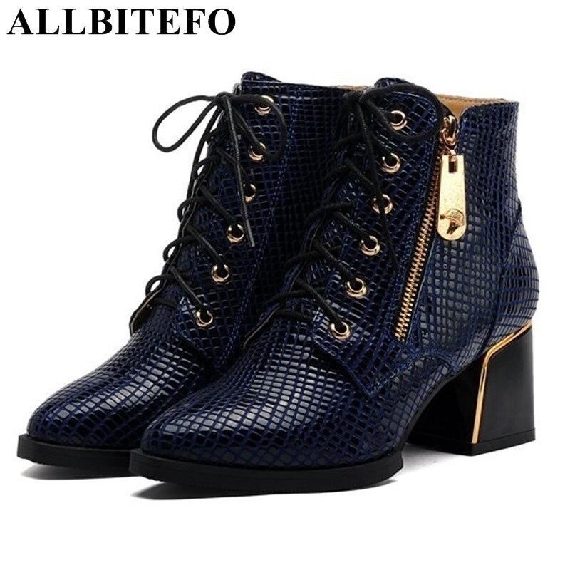 ALLBITEFO Classique mode serpent peau conception femmes cheville bottes en cuir Véritable bout pointu épais talons femmes moto bottes