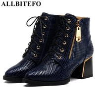 ALLBITEFO Classical Fashion Snake Skin Design Women Ankle Boots Genuine Leather Pointed Toe Thick Heels Women