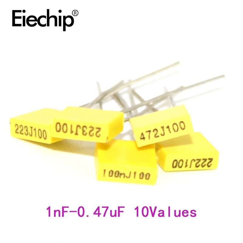 50pcs/lot Polypropylene Safety Plastic Film Correction Capacitor Kit 1nF-0.47uF Component Set Yellow Block Capacitor Package