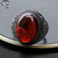 GZ Punk S925 Thai Silver Round Garnet Ring Open Size 100 Pure 925 Sterling Silver Rings