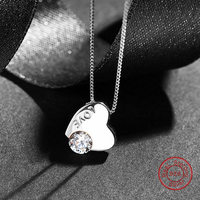 Cute 100 925 Silver Heart Pedant Necklaces Insert Charm Cubic Zirconia Sterling Silver Necklace Jewelry DA766