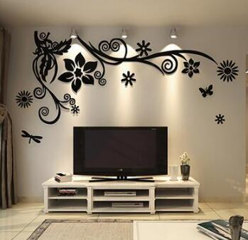 3D stereo Flower vine Acrylic Crystal Wall stickers Home Decor Diy Mirror Wall sticker Tree Living room Sofa TV Background Decal 9