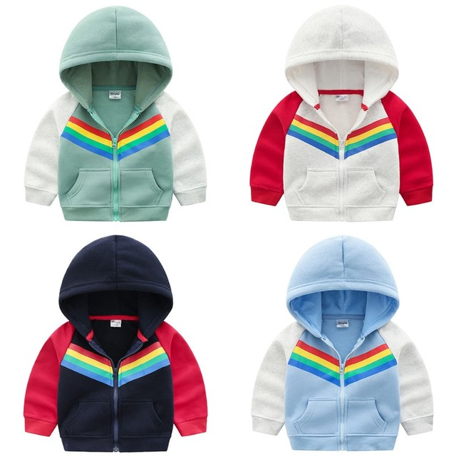 0a6167c05e90 100 140cm Spring Children Rainbow Hoodie Coat Autumn Kids Jacket ...