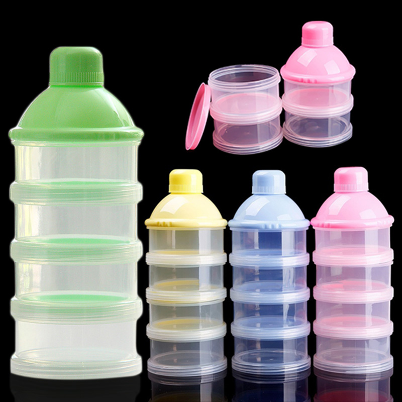 Portable Four Layers Infant Milk Powder Container Newborn Baby Feeding Food Bottle Moistureproof Snack Candy Storage Box FJ88