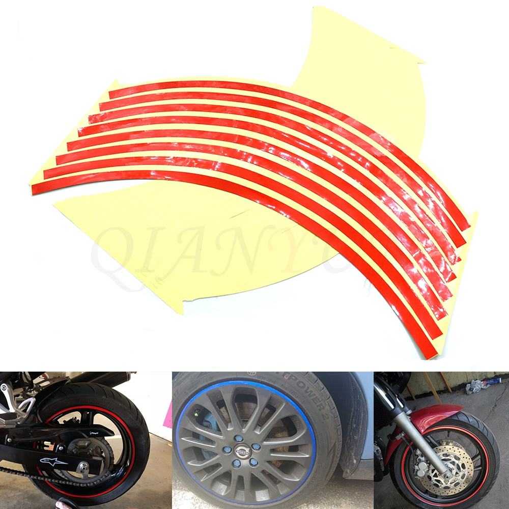 Red Wakauto 10-17 Reflective Rim Tape for Motorcycle Car Wheels