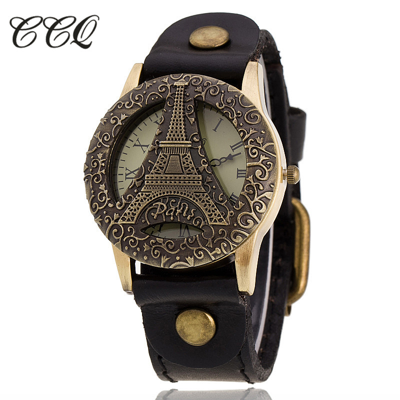 CCQ Luxury Brand Retro Vintage Tower Leather Bracelet Watch Women Casual Antique WristWatch Quartz Watch Relogio Feminino C33 brand vintage retro 100