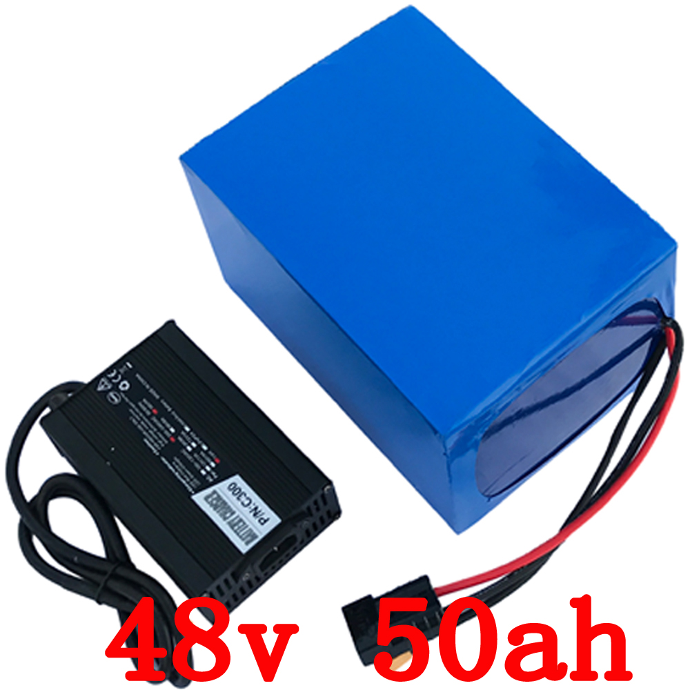 Free shipping Big Capacity 48v 50ah 2000W electric bike Lithium battery 48V 50AH bicycle battery 26650 cell 50A BMS+ 5A charger electric bike battery 48v 30ah 2000w for samusng cell electric bicycle battery triangle lithium ion battery pack with 50a bms