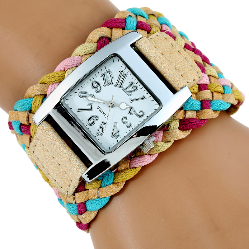 Rainbow Knit Braided Watch Leather wristwatch Korean fashion woven strap retro ladies women bracelet Dropshipping faux leather woven love courage bracelet