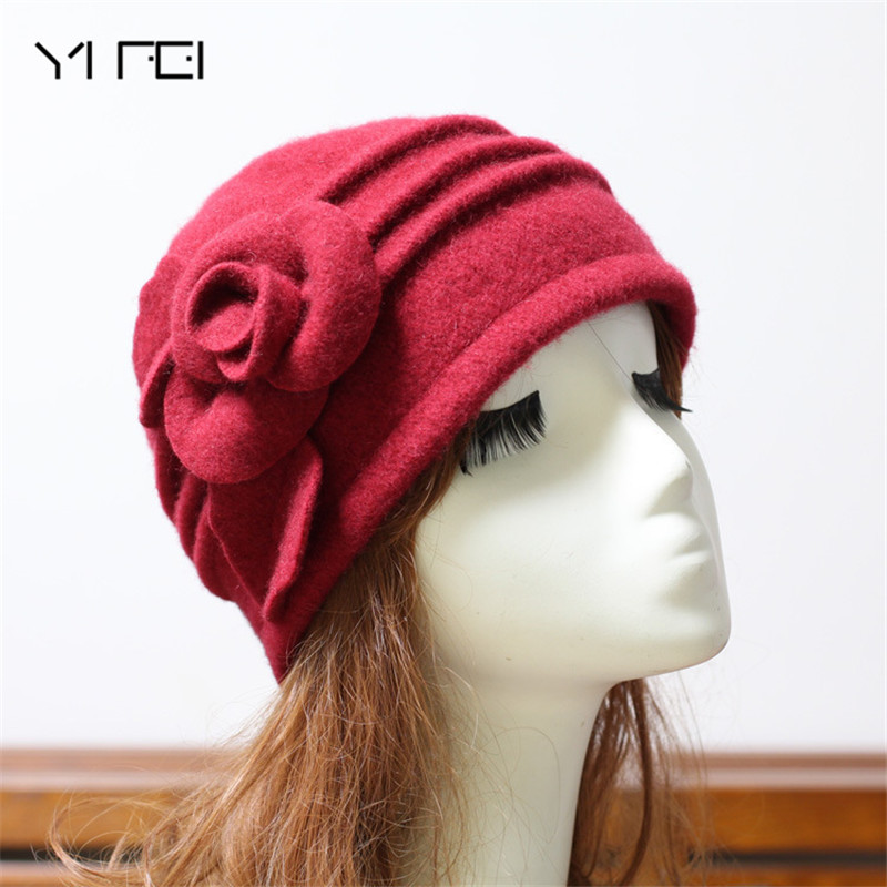 Women Fedoras 100 Pure Wool Dome Winter Hat For Women Floral Casual Brand Warm Lady Autumn