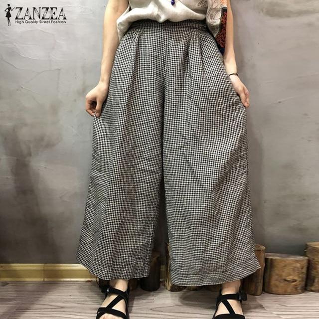 ec9bee0c515 2018 Autumn ZANZEA Women Vintage Plaid Check Wide Leg Pants Casual Pockets  Loose Streetwear Trousers Femme Retro Long Pantalon