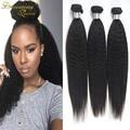 7А + Необработанные Наличие На Складе Weave Малайзии Kinky Прямая Наращивание Волос 3 шт./лот Грубый Яки Девственные Волосы Светло-Яки прямо