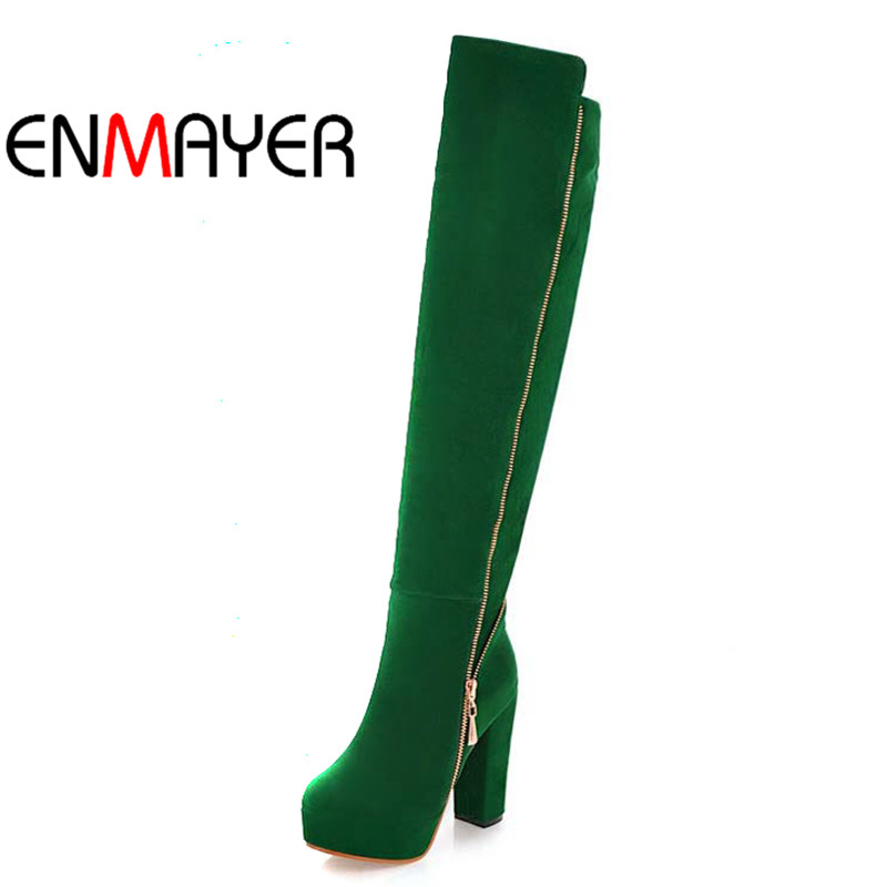 ENMAYER Hot Women s Over Knee High Boots Fashion Chains Warm Flock Shoes High Heels Platform