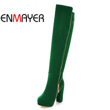ENMAYER Hot Womens Over Knee High Boots Fashion Chains  Warm Flock Shoes Heels Platform big size34-43 snow boots