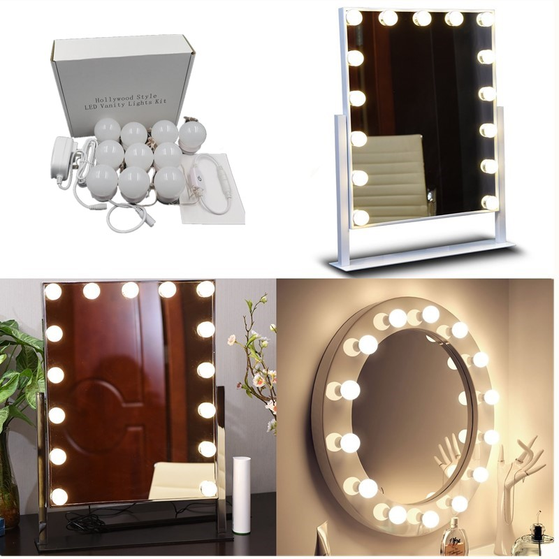 Hot Sale Diy Hollywood Style Led Mirror Light With Press Dimmer And Power Supply Makeup Mirror Vanity Led Light For Dressing Table Lights & Lighting
