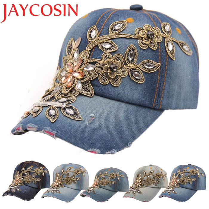 Drop shopping Women summer Flower Denim   Baseball     Cap   Lady fashion Jeans Hats