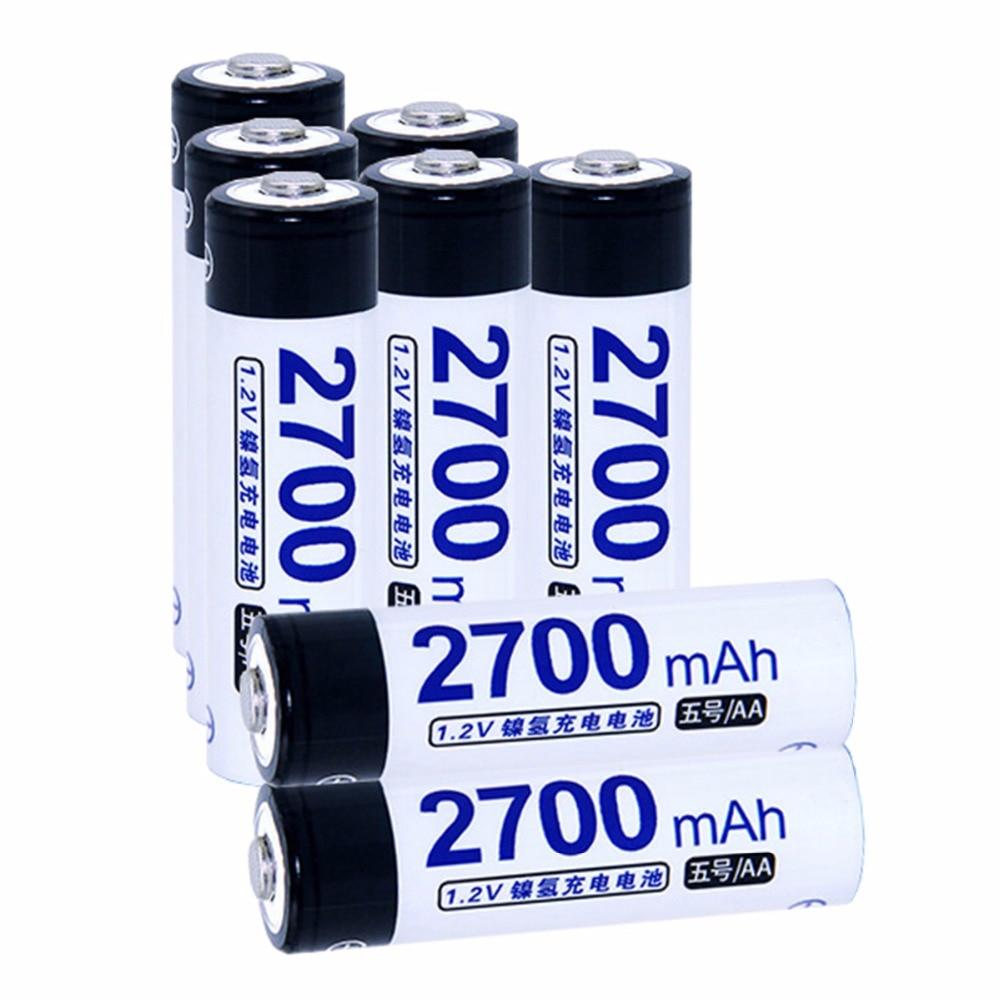 8 pcs AA portable 1.2V NIMH AA rechargeable batteries 2700mah for camera razor toy remot ...
