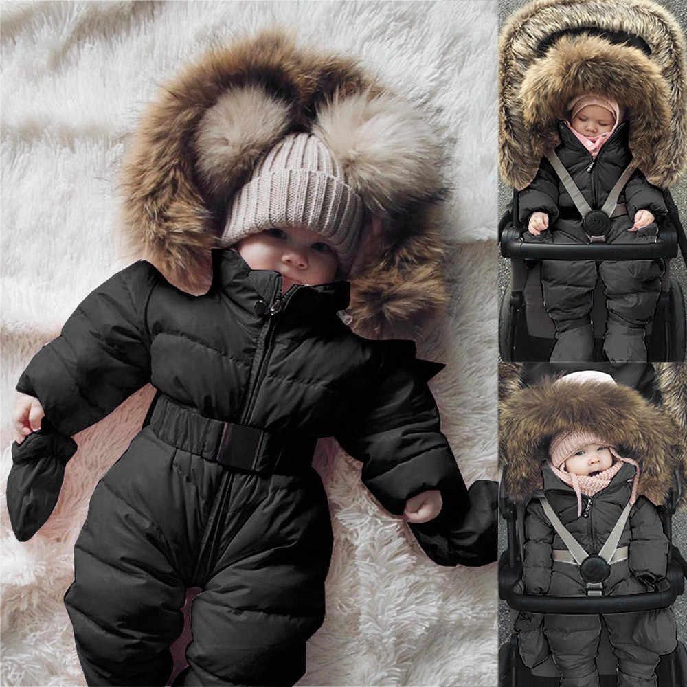 Зимний теплый непродуваемый хлопковый комбинезон-жакет для новорожденных мальчиков и девочек, комбинезон с меховым капюшоном, плотное однотонное пальто, одежда, бесплатная доставка