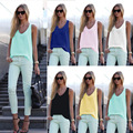 Women's sleeveless beach Tank Chiffon tops ladies summer casual Vest Camisole yellow blue black white plus xxxl size