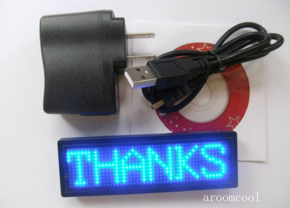 2020 New  Blue Led Programmable Message Moving Scrolling LED Name Badge Tag