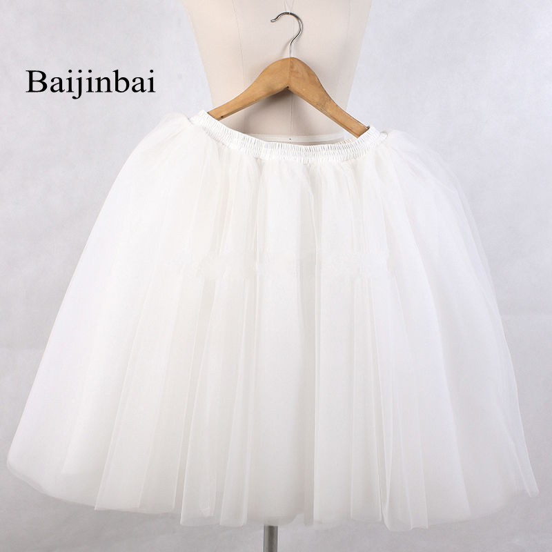 Baijinbai Autumn New Fashion Skirts Womens Elastic Waist Puffy White Short Wedding Party Dress Cheap Tulle Underskirt Petticoat