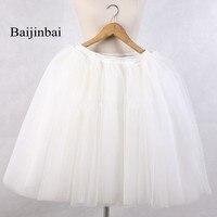 Baijinbai Otoño Nueva Moda Para Mujer Faldas de Cintura Elástica Puffy Blanco Boda Vestido de Fiesta Corto Barato de Tul Enaguas de la Enagua