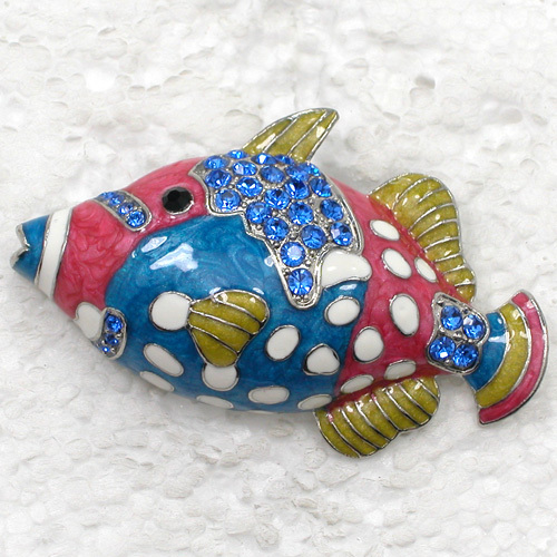 12pcs/lot Wholesale Fish Enamel Rhinestone Pin brooches C101985-in Brooches from Jewelry & Accessories    3