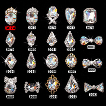 50PCS Top AB crystal Nail Art 3D Charms Rhinestones Manicure Accessories Silver Alloy Material Decoration 3074-3099,