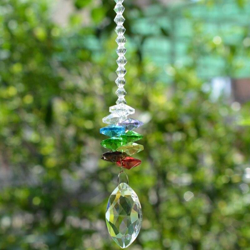Chakra Crystal Sun Catchers Chandelier Crystals Ball Prism Pendant Rainbow Maker Hanging Cascade Suncatcher Garden Suncatchers