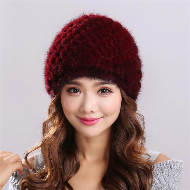 Patrón de rayas de Punto Natural de piel de Visón sombrero de Invierno para las mujeres de Invierno Mujeres mujeres Headwear gorros gorros mujer invierno # H9019