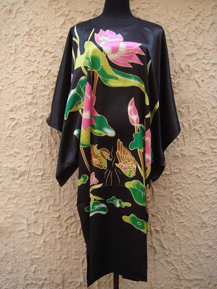 Black Painting Chinese Womens Silk Robe Bath Gown Nightgown Yukata Flower One Size Free Shipping S5001