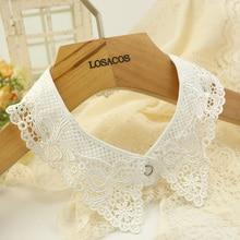 41×5.7cm women fashion decor hollow flower lace fake shirt collar black white cotton false detachable collar