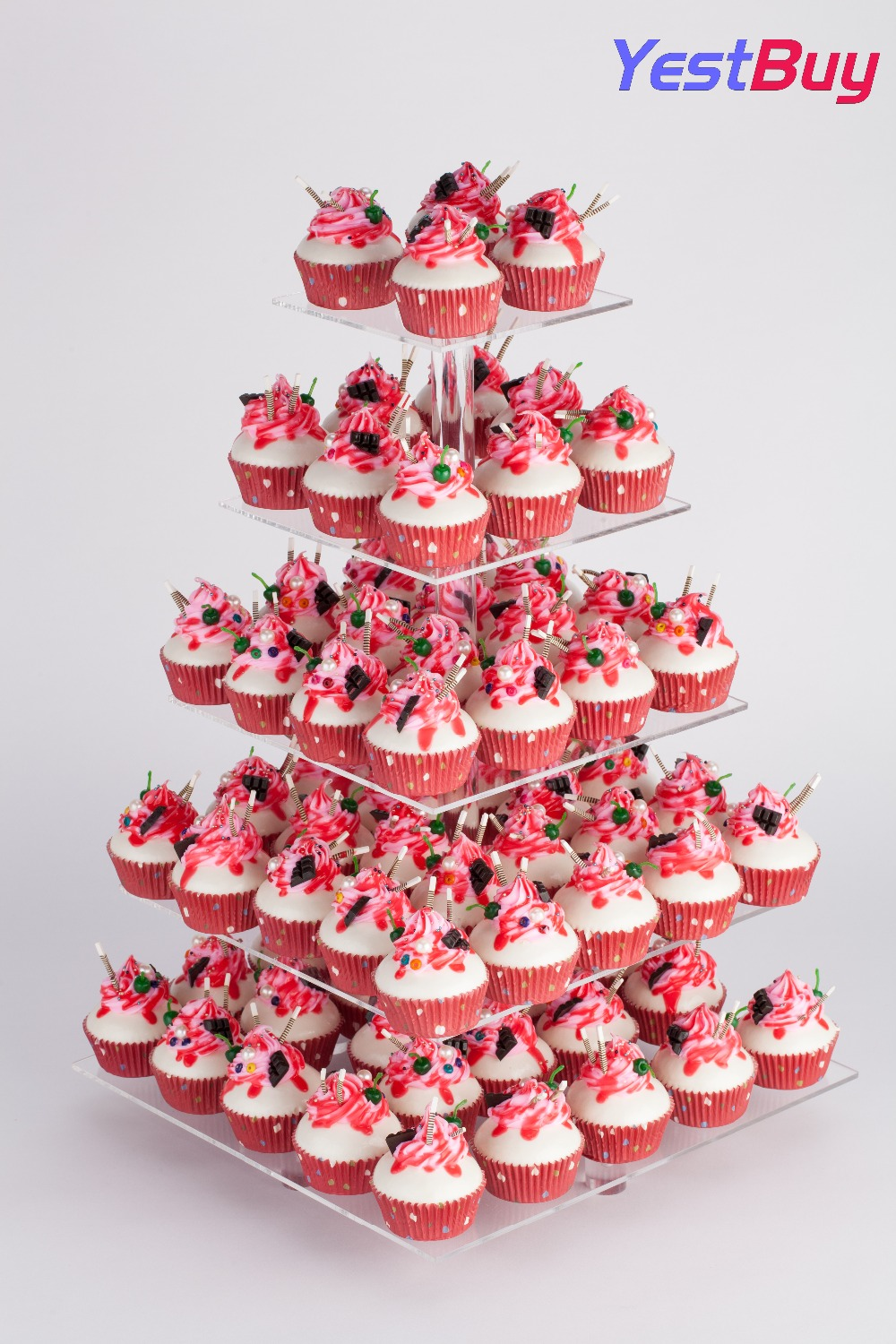 5 Tier Maypole White Acrylic Cupcake Stand Tower Display