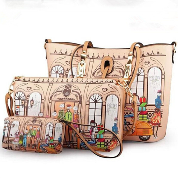 ФОТО 2014 fashion printing shoulder bag vintage women handbag luxury women leather bag women messenger bags crossbody bag hot tote