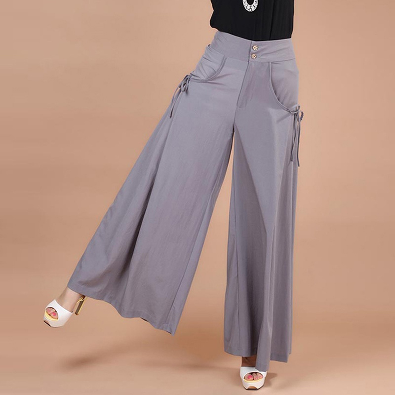 Fashion Trousers For Women High Waist Long   Pants   Pocket Loose   Wide     Leg     Pants   Party Palazzo Plus Size 5XL Ladies Office   Pant