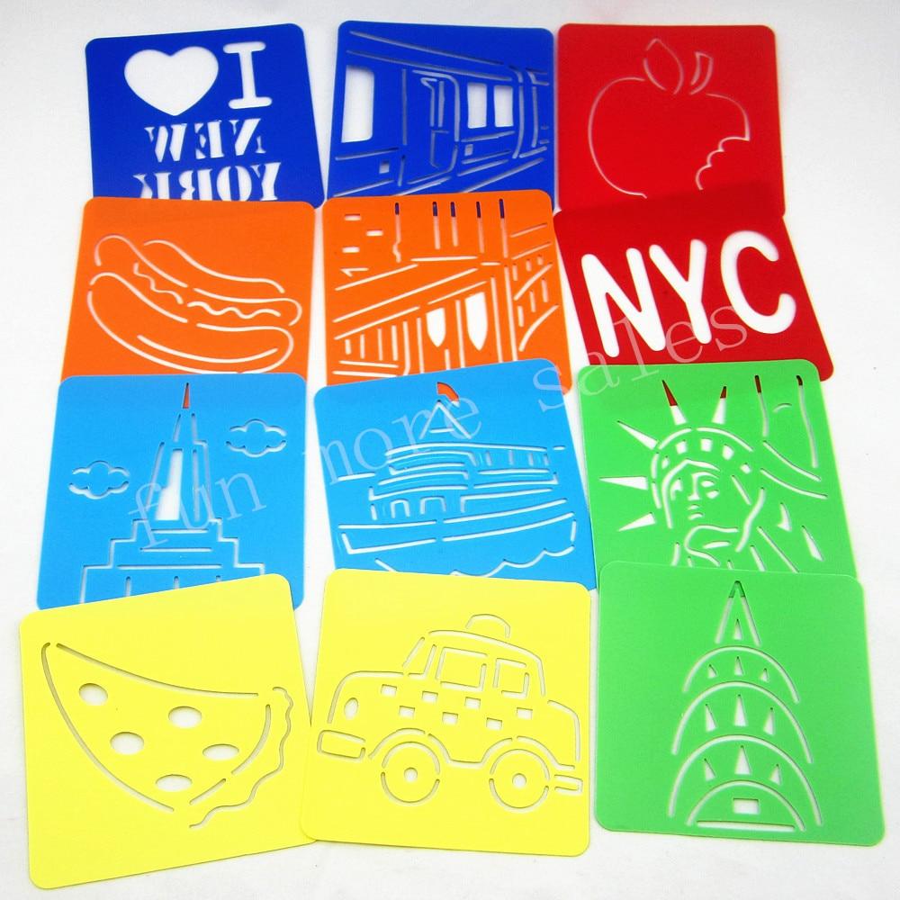 12 Projetos / set Stencils NewYork para a pintura de Crianças modelos de desenho Placas De Plástico bebê brinquedos quentes para crianças128x128x0.6mm