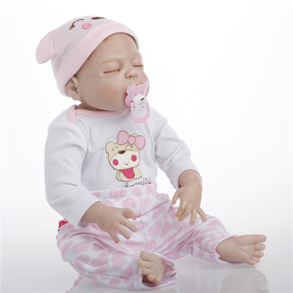 22 inch 57cm baby reborn Silicone dolls, lifelike doll reborn babies toys Sleeping doll birthday gift