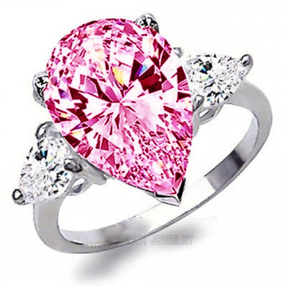 Genuine Women Fashion 925 Sterling silver rings Diamonique Pear cut ...