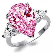 YaYI ювелирные изделия Мода Принцесса Cut 4,2 CT Розовый циркон серебряного цвета обручальные кольца вечерние кольца