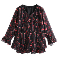 Women Autumn Long Sleeve Blouse Plus Size 10XL 8XL 6XL 4XL Women Chiffon Tops Female V neck Loose Yards Mama Larger Size Blouse