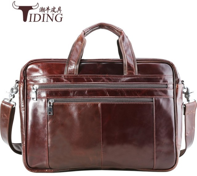 """men cow leather briefcase 2018 new man oil waxed light leather large capacity briefcase 17"""" laptop travel handbags shoulder bags"""