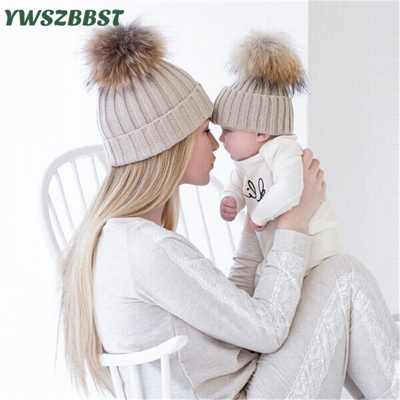 2pcs Family Caps Winter Baby Hat Knitted Wool Raccoon Fur Ball Baby Caps for Girls Toddler Crochet Beanies Cute Boys Hat Caps
