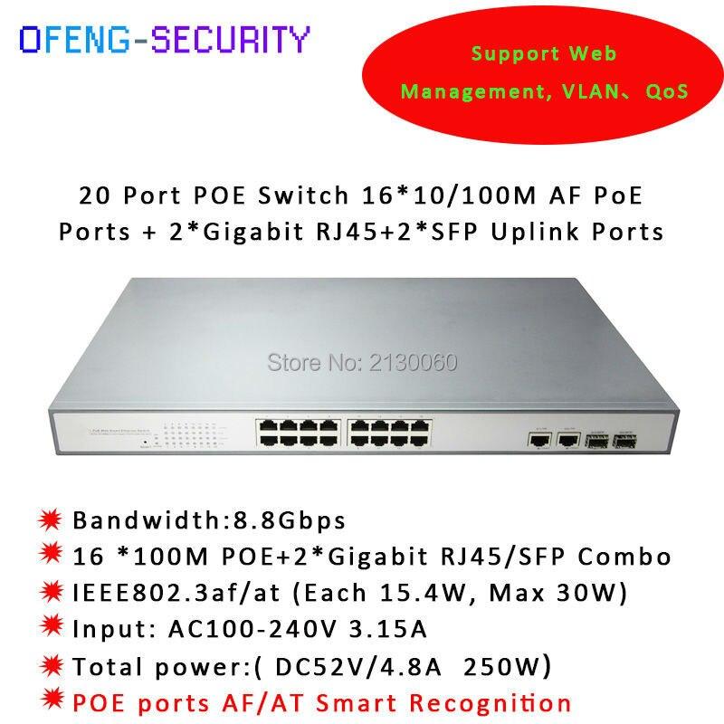 Switch Rj45 16 Ports Sfp Uplink, 16ports 100M POE+2*RJ45+2*SFP Combo Ports Uplink, IEEE 802.3af/at, PoE Output 15.4W Budget 250W