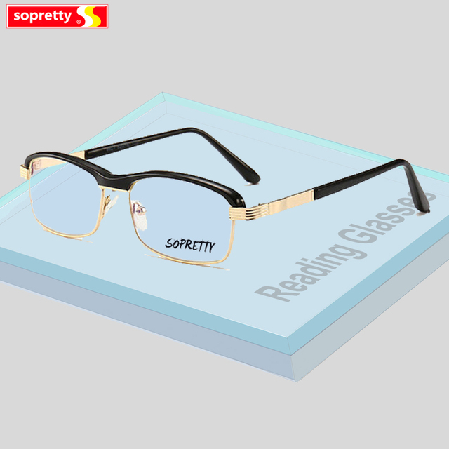 be62ae7011f5 +1.0 +1.5 +2.0 +2.5 +3.0 +3.5 +4.0 Men Square Presbyopia Reading Glasses  Reader Eyewear Clear Lens Anti- Light Blue Vision A380