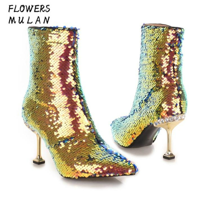 New Winter Fashion Show Silver Gold Bling Glitter Shiny Leather Women Boots Pointed Toe High Heels Shoes With Crystal Back BotasNew Winter Fashion Show Silver Gold Bling Glitter Shiny Leather Women Boots Pointed Toe High Heels Shoes With Crystal Back Botas