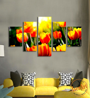 Modern Canvas Prints Painting 5pcs Tulips Flower Field Painting HD Canvas Wall Art Picture For Living